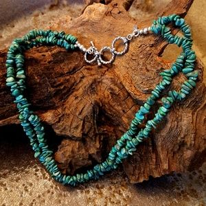 VINTAGE Sterling Double Strand Turquoise Necklace
